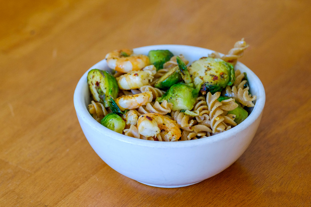 Brussels sprouts with shrimp and whole wheat pasta